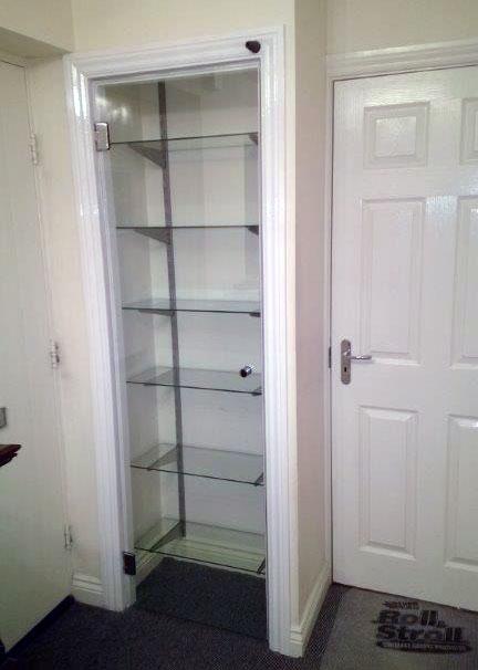 Glass display cabinet door and glass shelveshelves